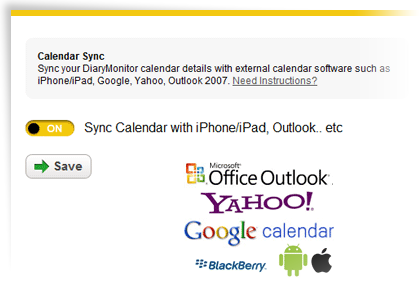 Syncing the calendar with external apps in YellowSchedule