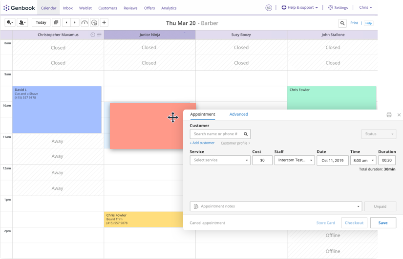 Calendar view of scheduled patient appointments in Genbook