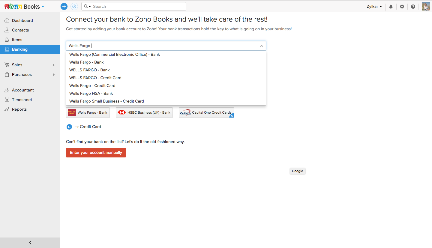connecting a bank account to zoho books