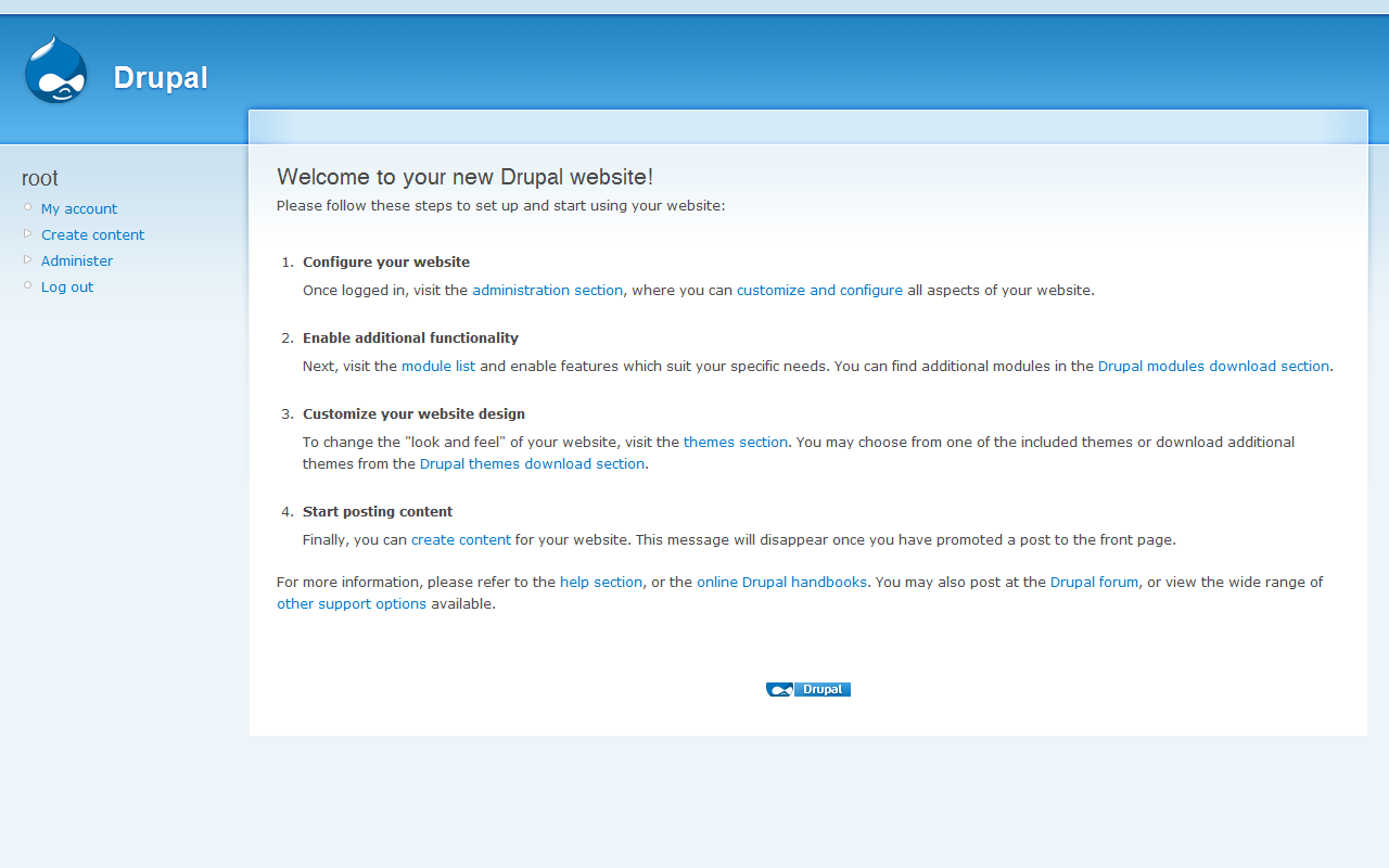 Display page of a website just created with Drupal screenshot