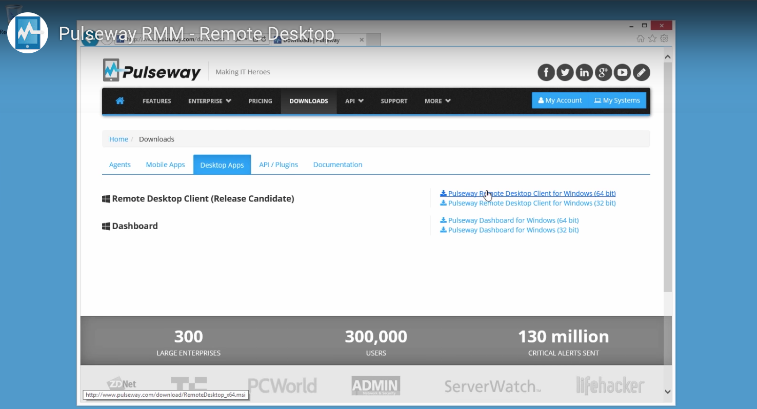 Remote desktop manager features in Pulseway