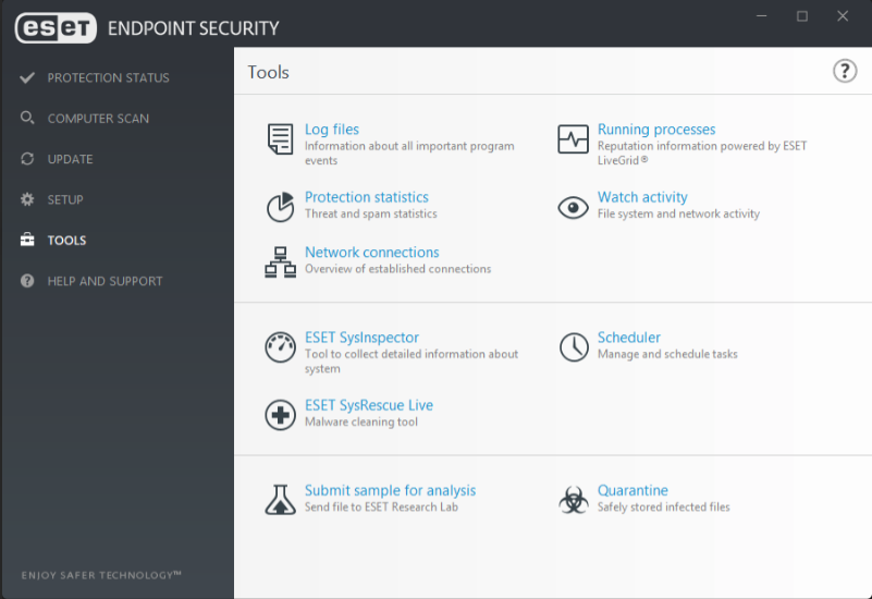 Built-in security tools on ESET Endpoint Security
