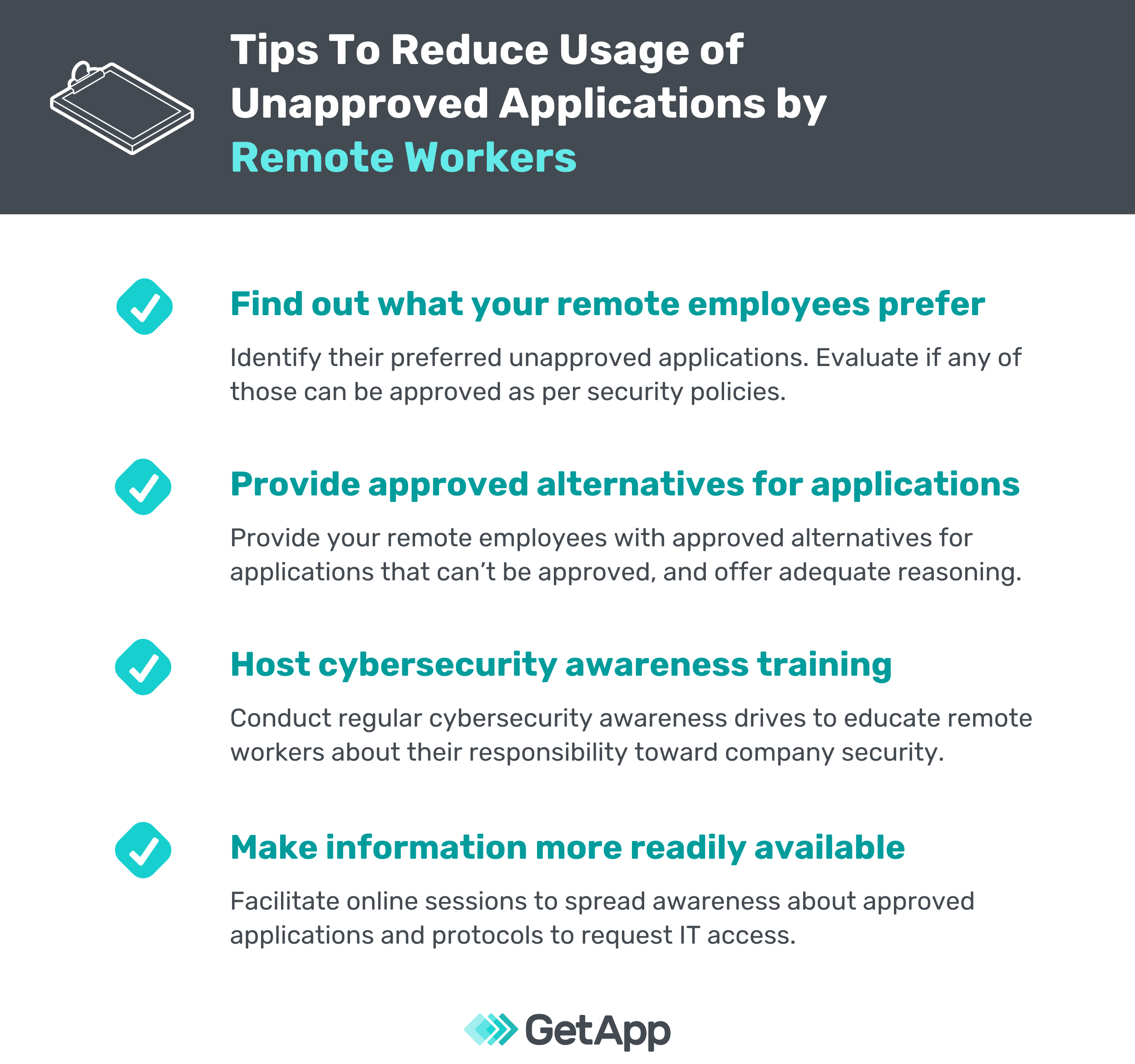 Tips to reduce unapproved applications by remote workers