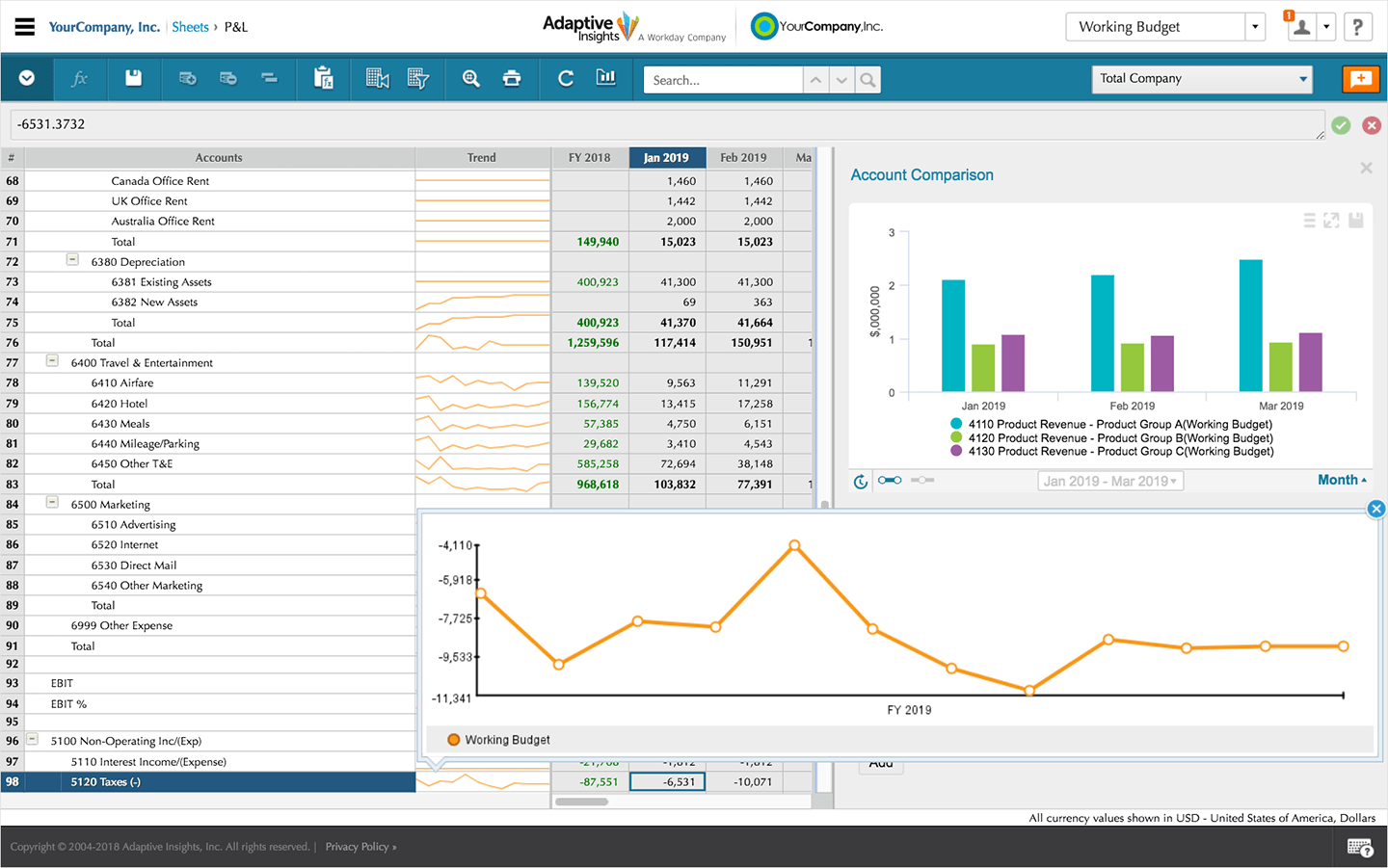 view of financial statements in Workday Adaptive Planning