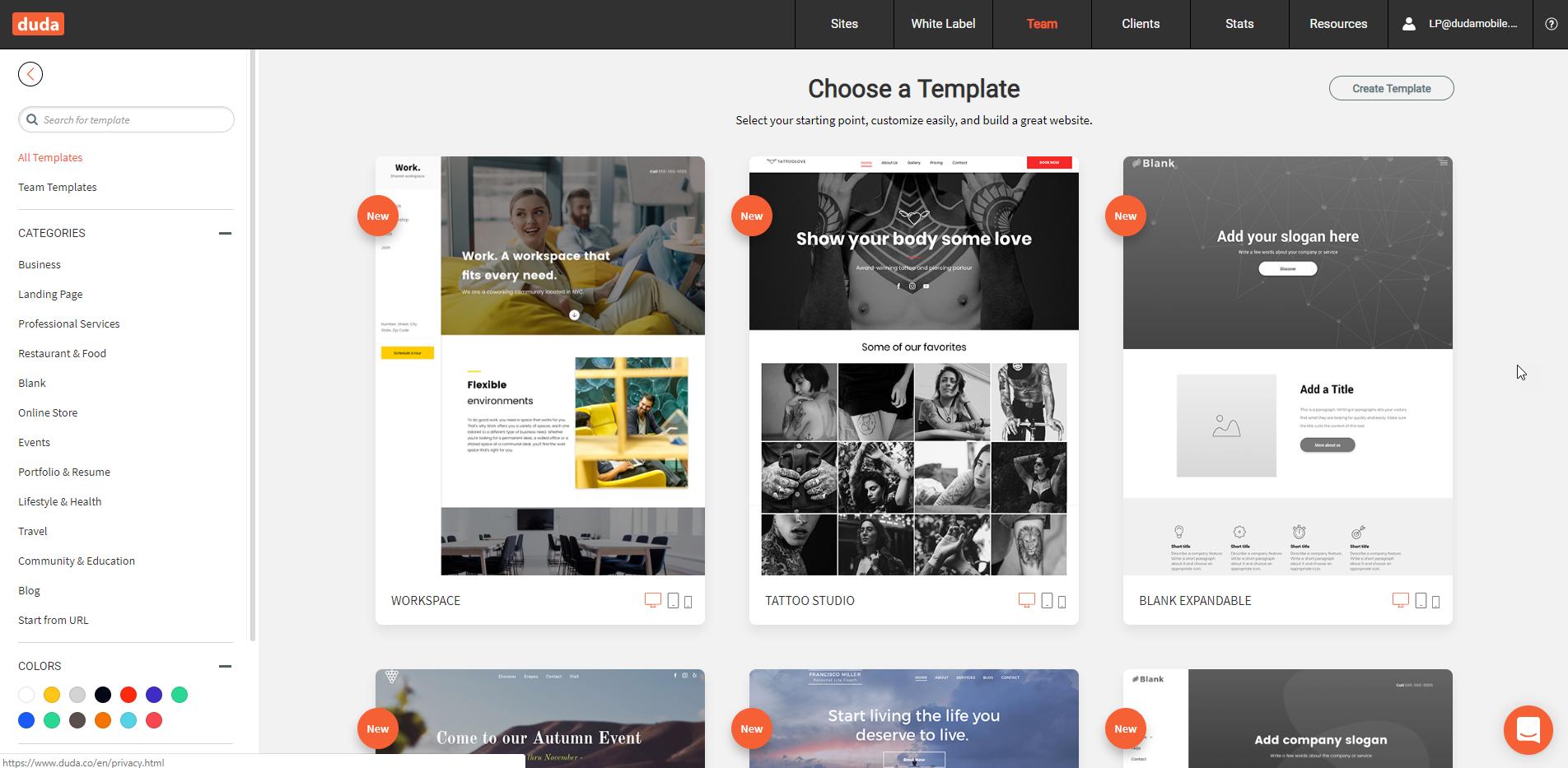 Website templates in Duda