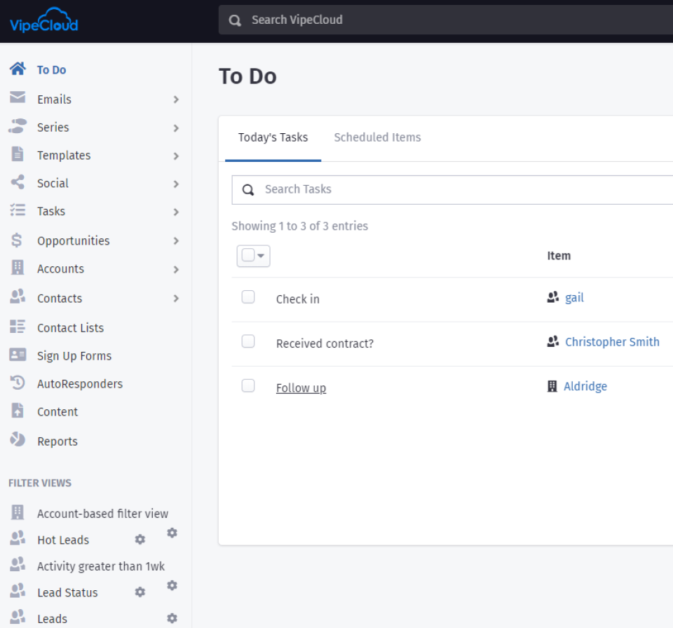 Today's Tasks view in VipeCloud