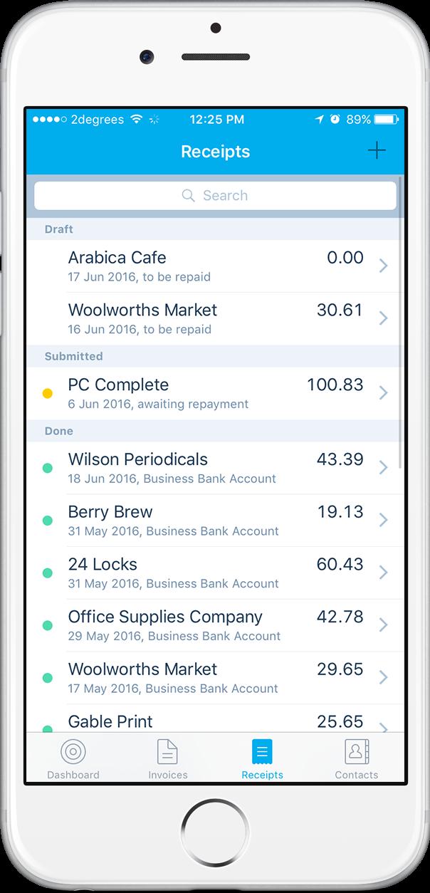 Receipts in Xero's mobile app