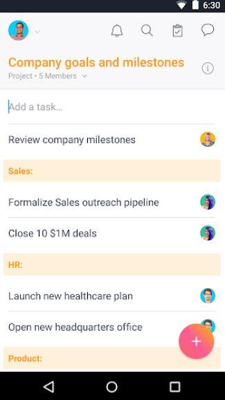 Asana task management board on Android screenshot