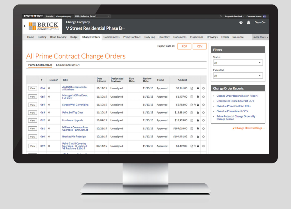 Screenshot of changing orders on Procore