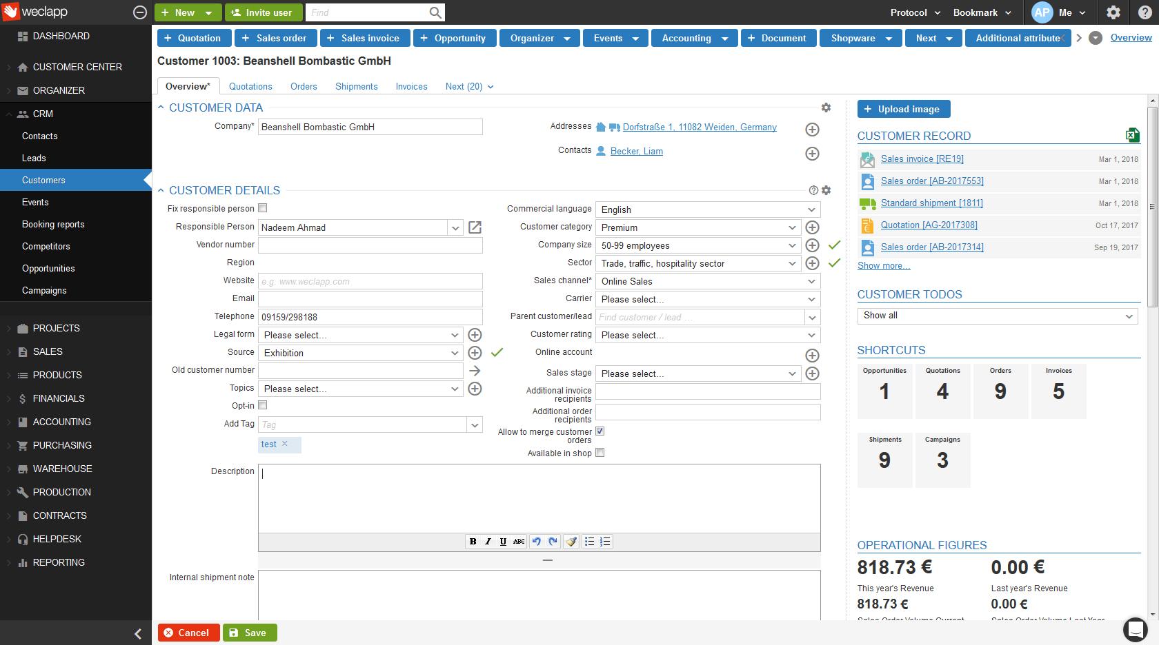 Recording customer details in Weclapp Cloud CRM