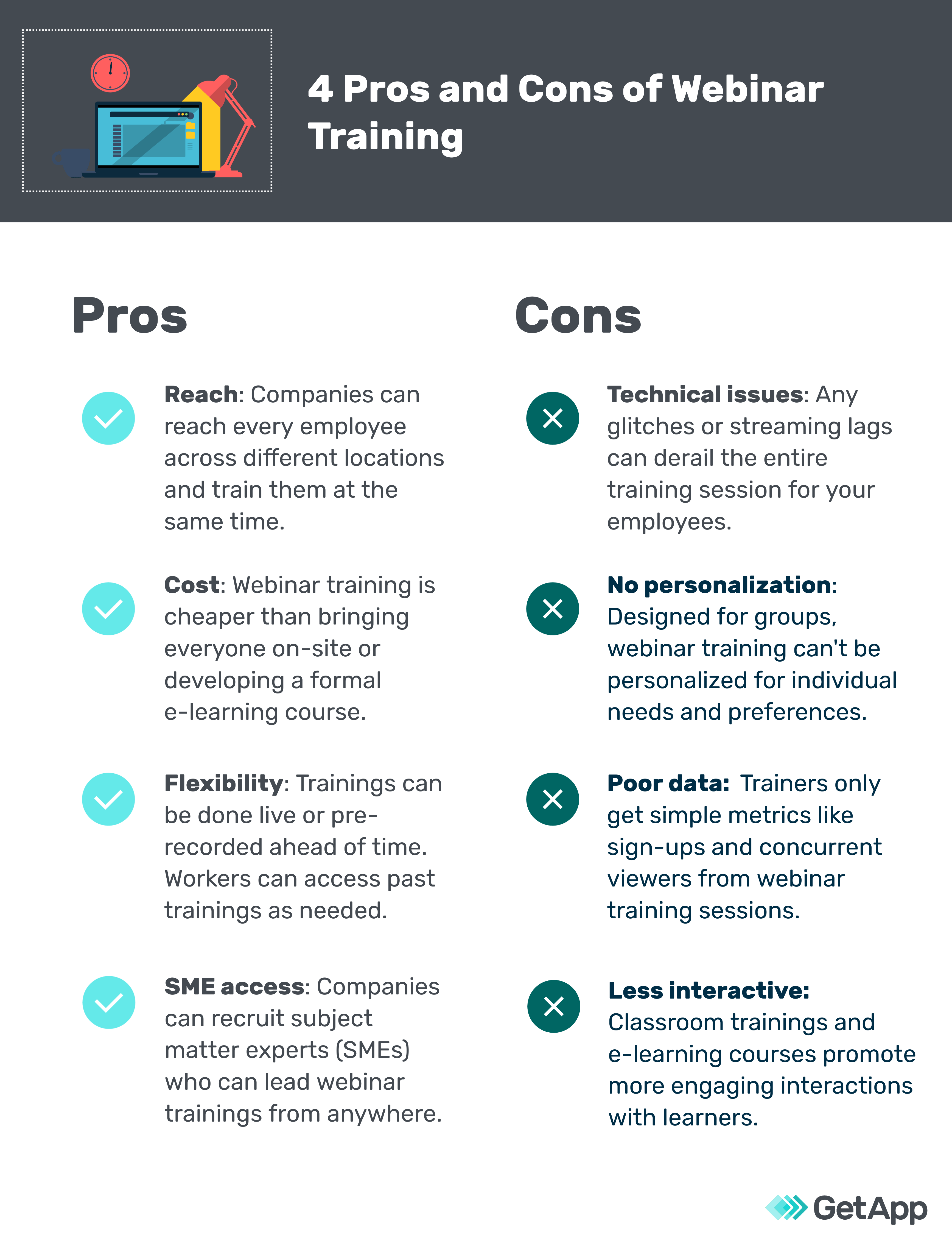 4 pros and 4 cons of webinar training