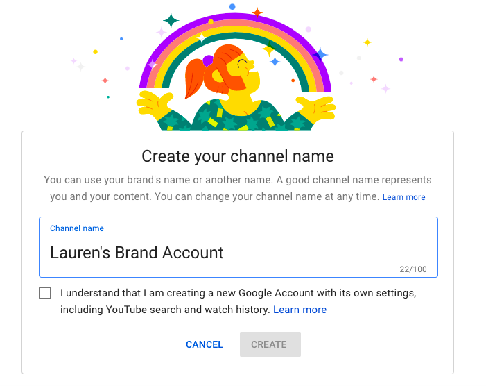 """This screenshot shows you what pops up when you click """"Create a new channel."""""""