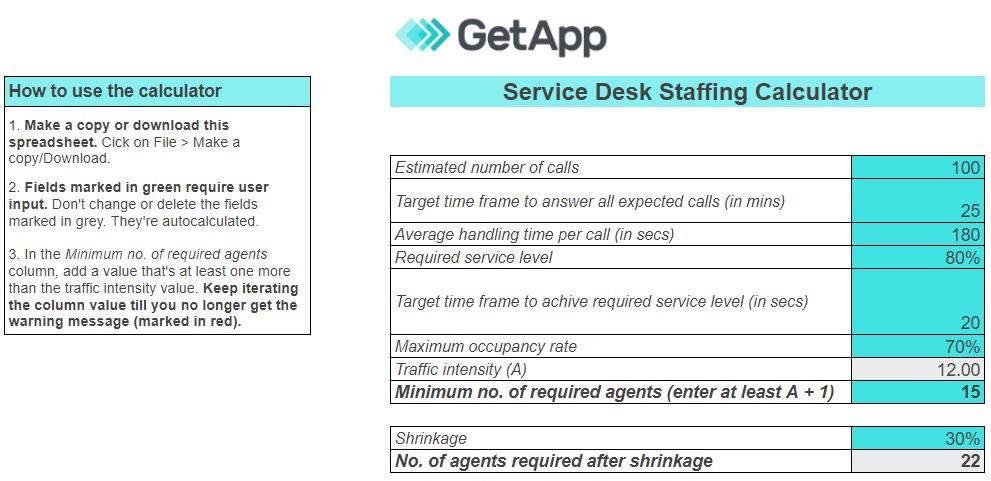 GetApp's Erlang Calculator to find IT help desk size