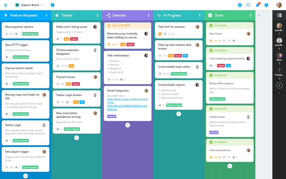 Colorful board view in MeisterTask