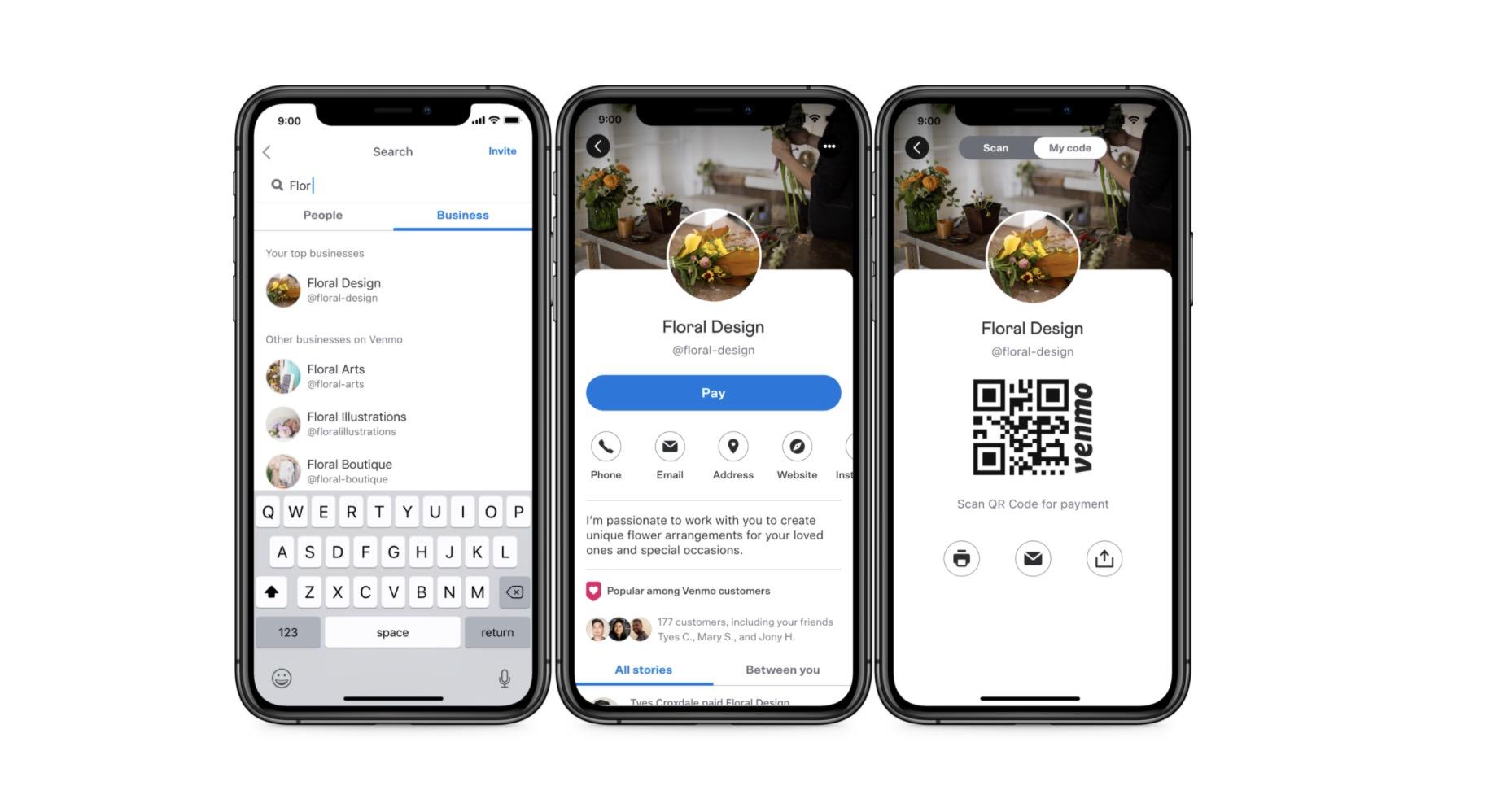 Generating a payment QR code for a vendor in Venmo