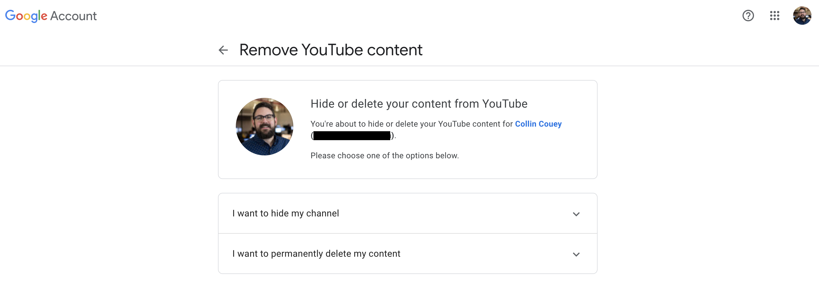 A screenshot of YouTube's hide or delete content page