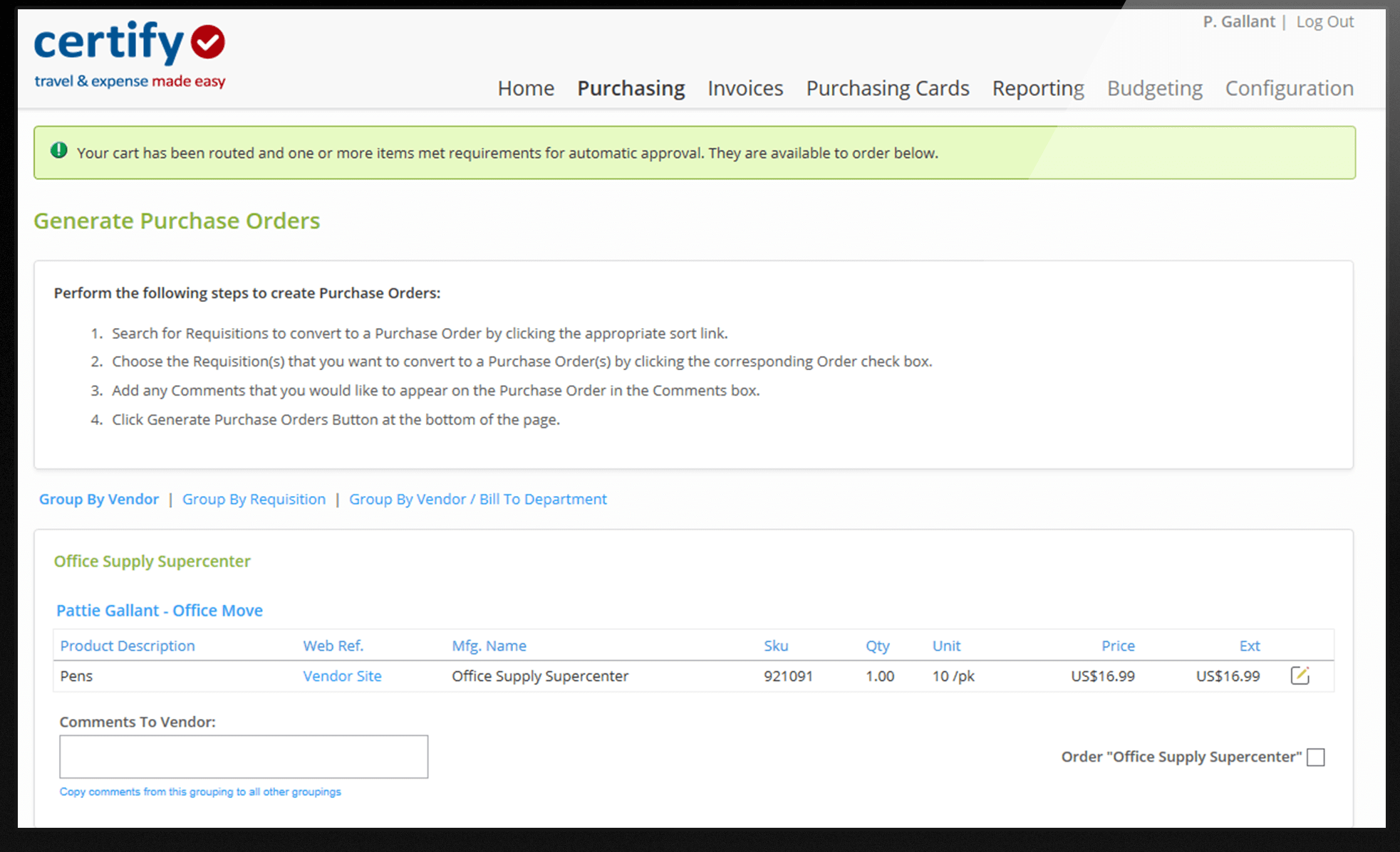 Purchase orders in Certify screenshot