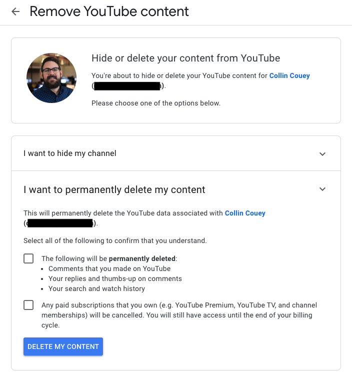 A screenshot of the confirmation page for deleting your YouTube content