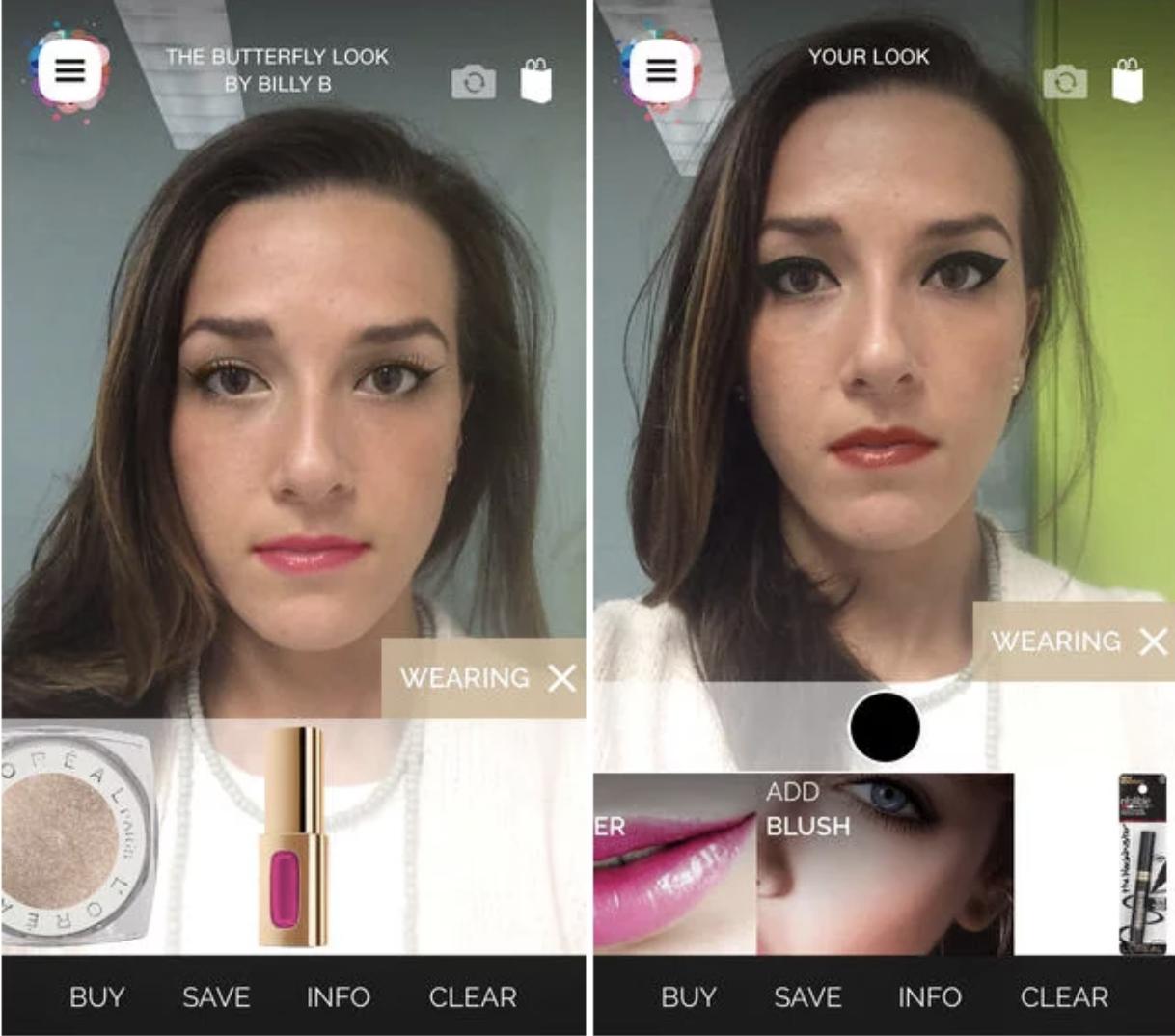 a screenshot of L'Oreal's makeup genius app
