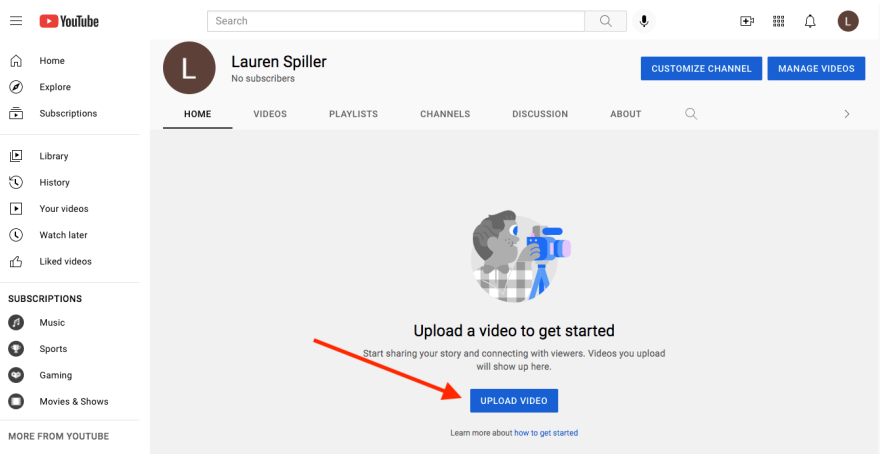 This screenshot shows you where to click to upload a video.