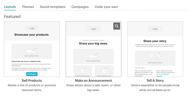 Choosing from multiple email formats in MailChimp's email design module