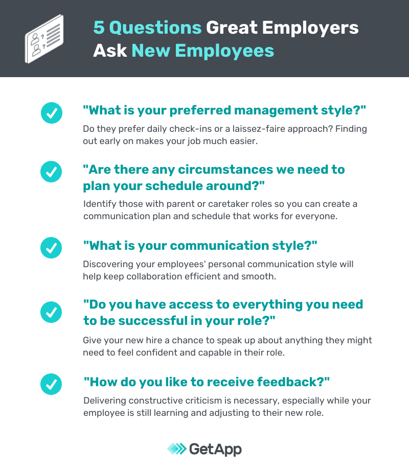 graphic showing the 5 questions employers should ask new hires