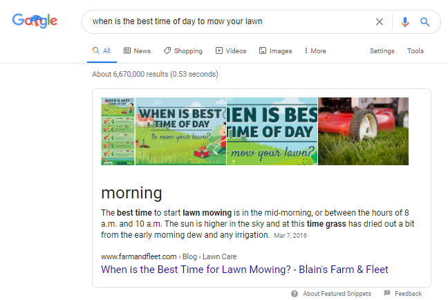 """A screenshot of the Google results for the query """"when is the best time of day to mow your lawn"""""""