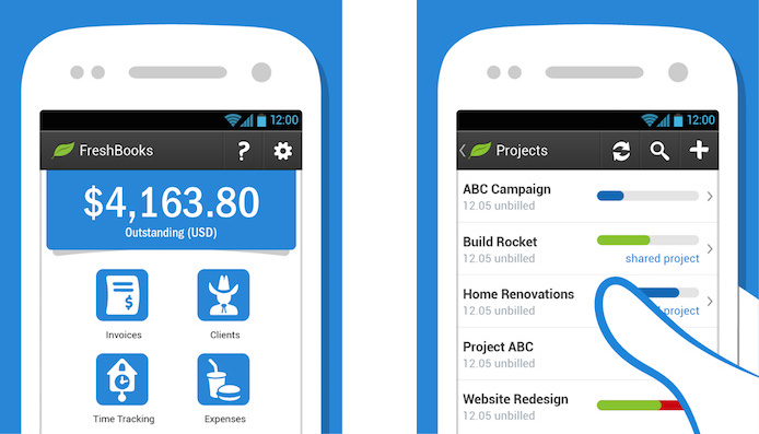 FreshBooks Android accounting app screenshot