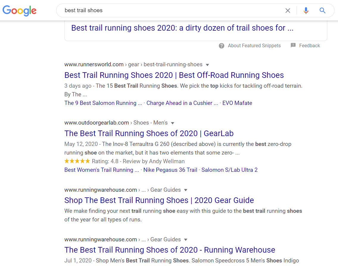 screenshot of search engine results from Google for best trail shoes in august 2020