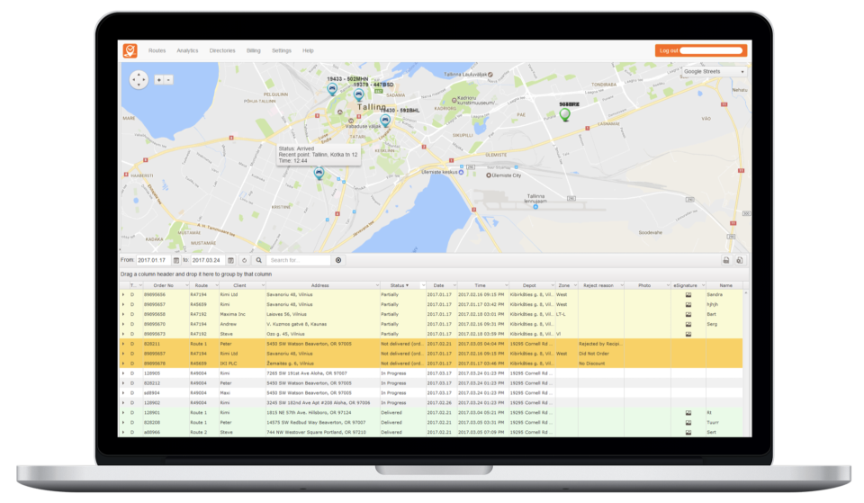 the delivery route optimization and planning screen in track-pod no contact delivery software