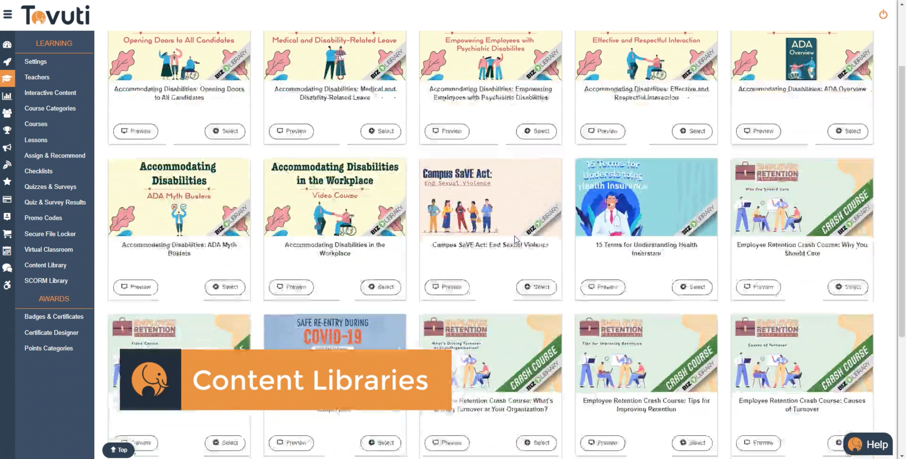 A content library in Tovuti where users can upload custom content