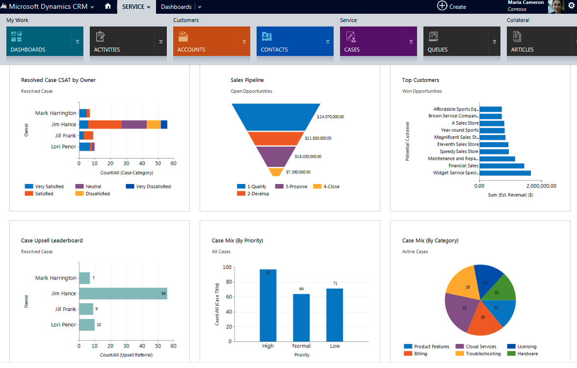 Microsoft Dynamics CRM user interface screenshot