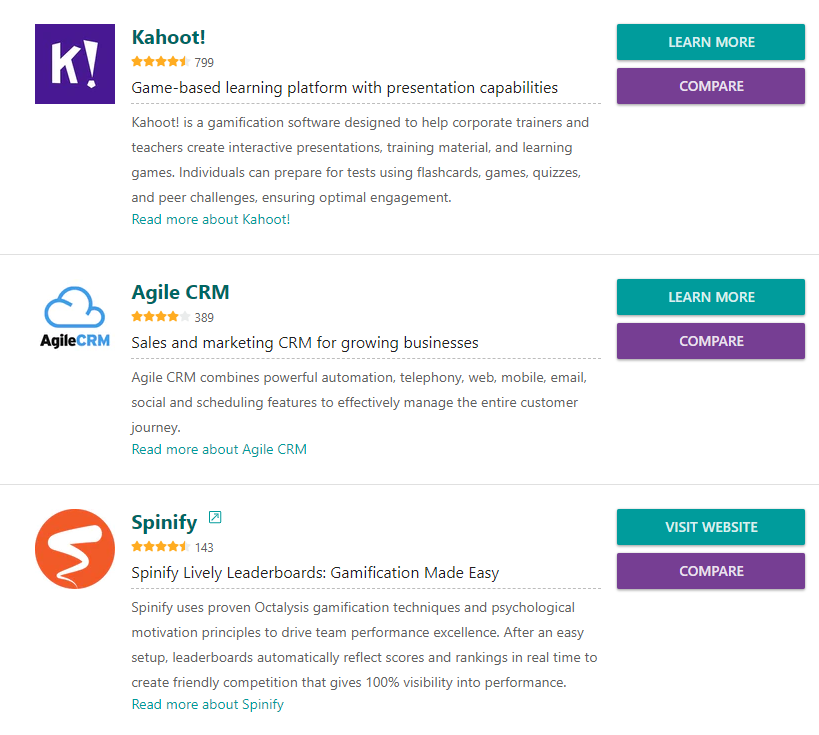 Gamification software directory on GetApp.