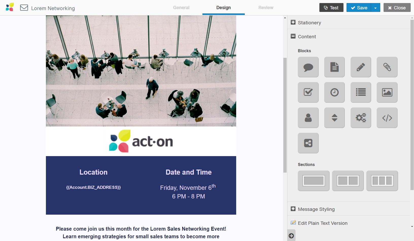 Email builder in Act-On marketing automation solution