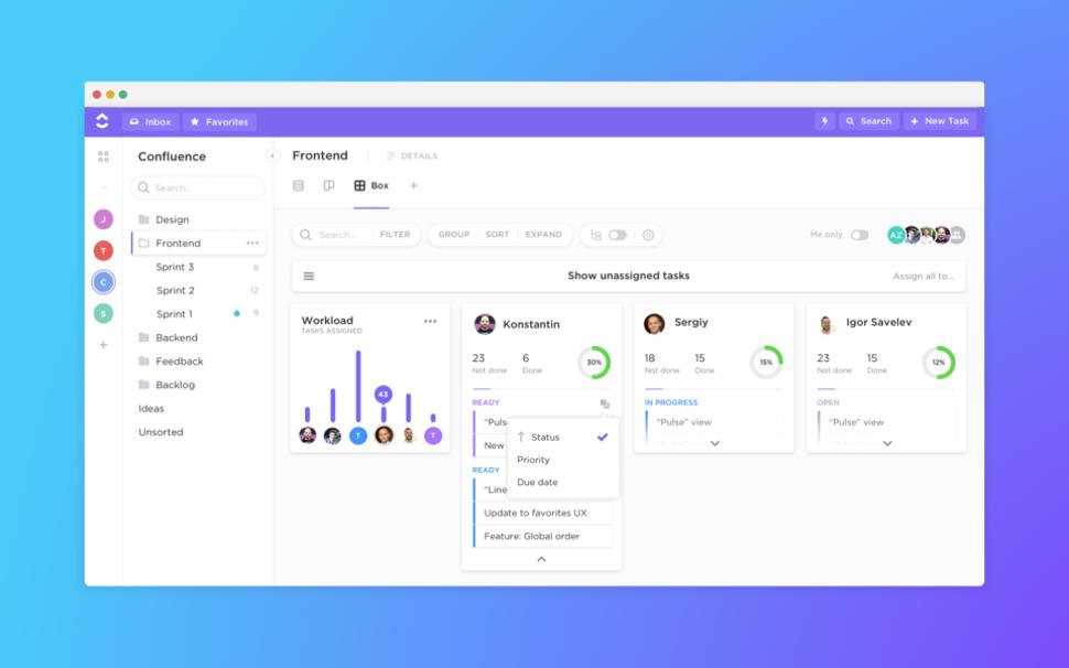 screenshot of ClickUp software
