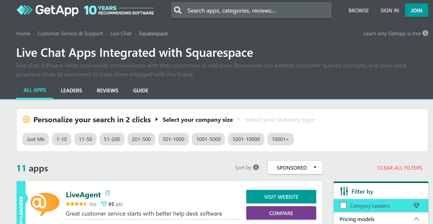 11 live chat apps that integrate with squarespace in the getapp catalog