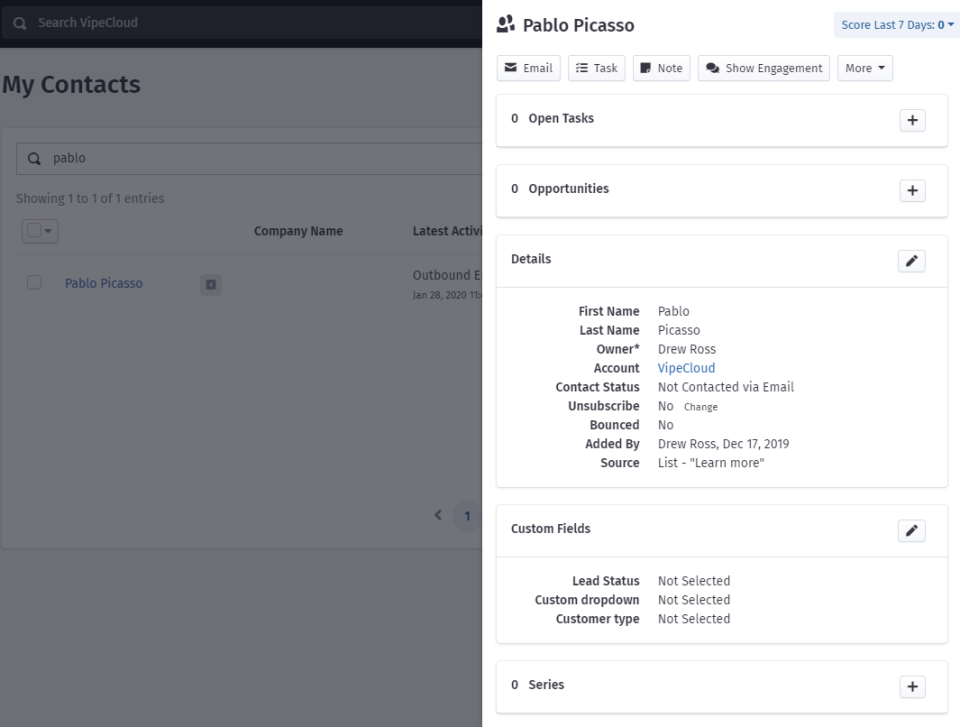 Storing customer contact details in VipeCloud