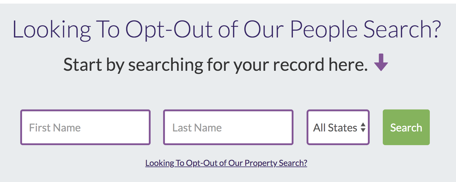 Opt out of people search screenshot