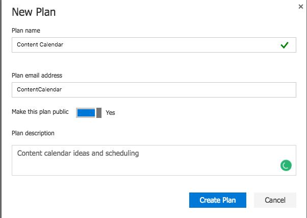Microsoft Planner project creation screenshot