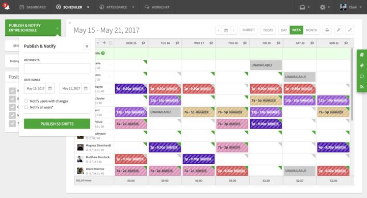 Self-scheduling dashboard in When I Work