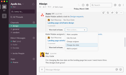 Slack integration with Asana screenshot