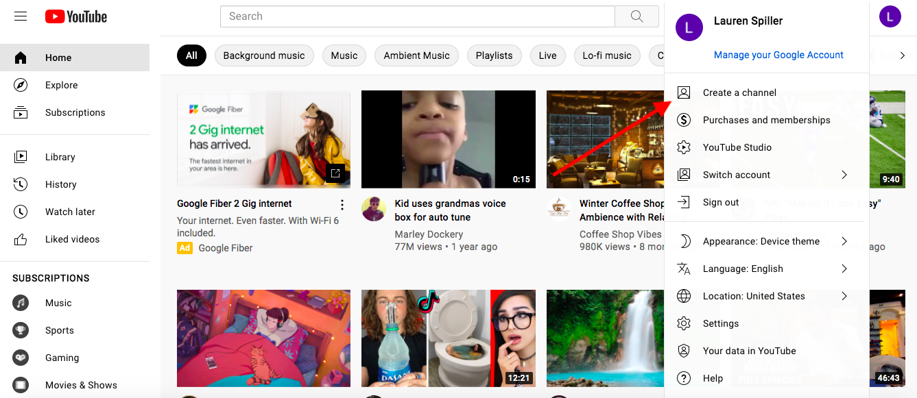 This screenshot shows you where to go to create a channel.