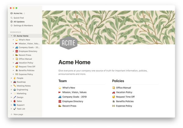 Notion homepage showing the ability to host a design system or style guide