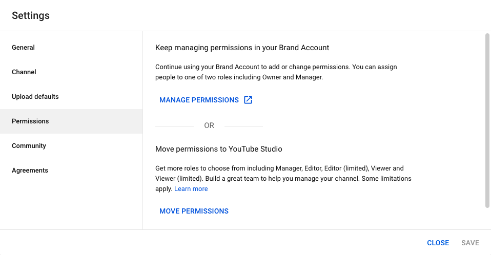 This screenshot shows you the permissions settings in YouTube Studio.