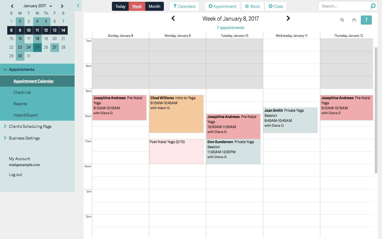 screenshot of a calendar with scheduling features in Acuity Scheduling Software