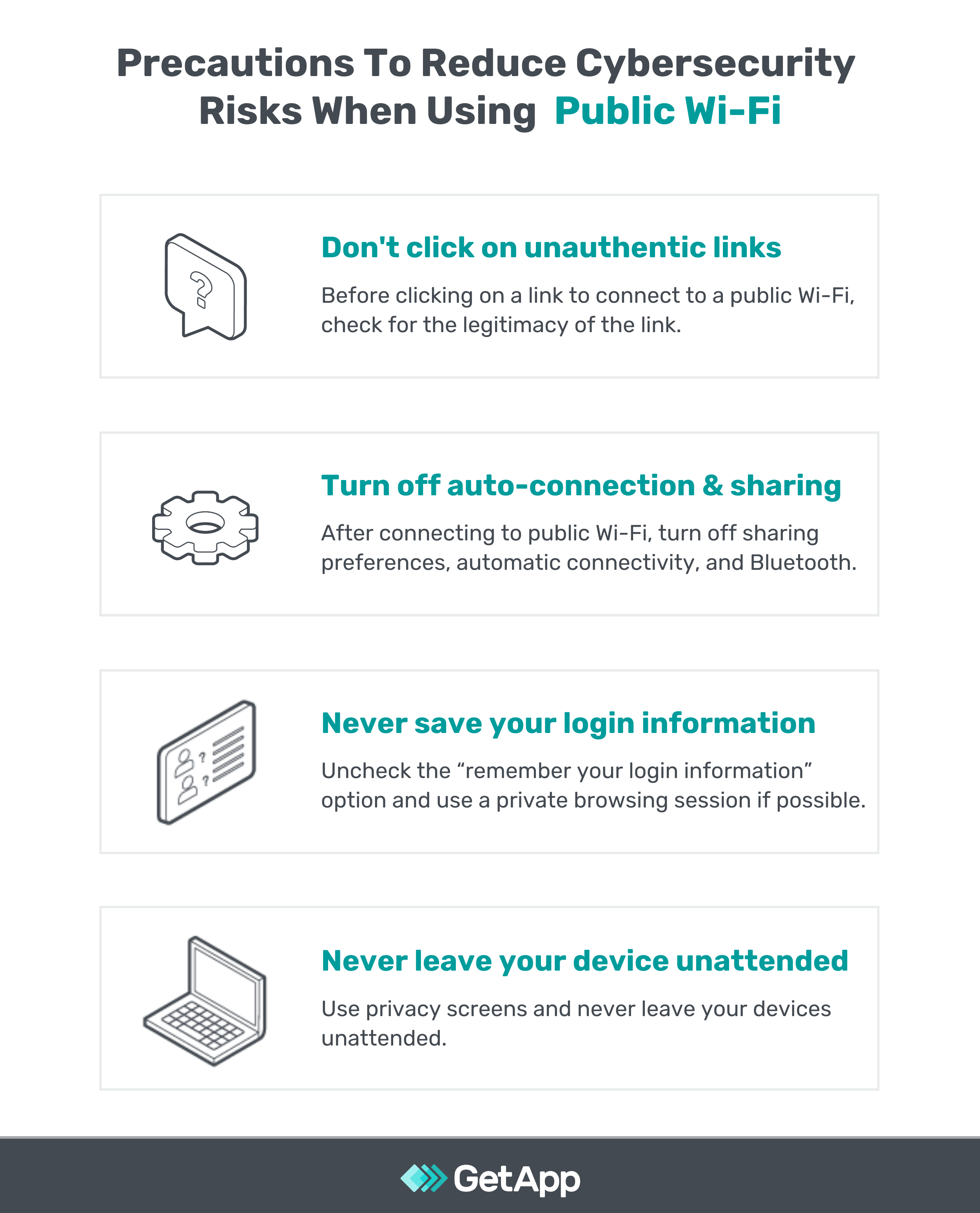 Precautions to reduce cybersecurity risk when using public WI-FI