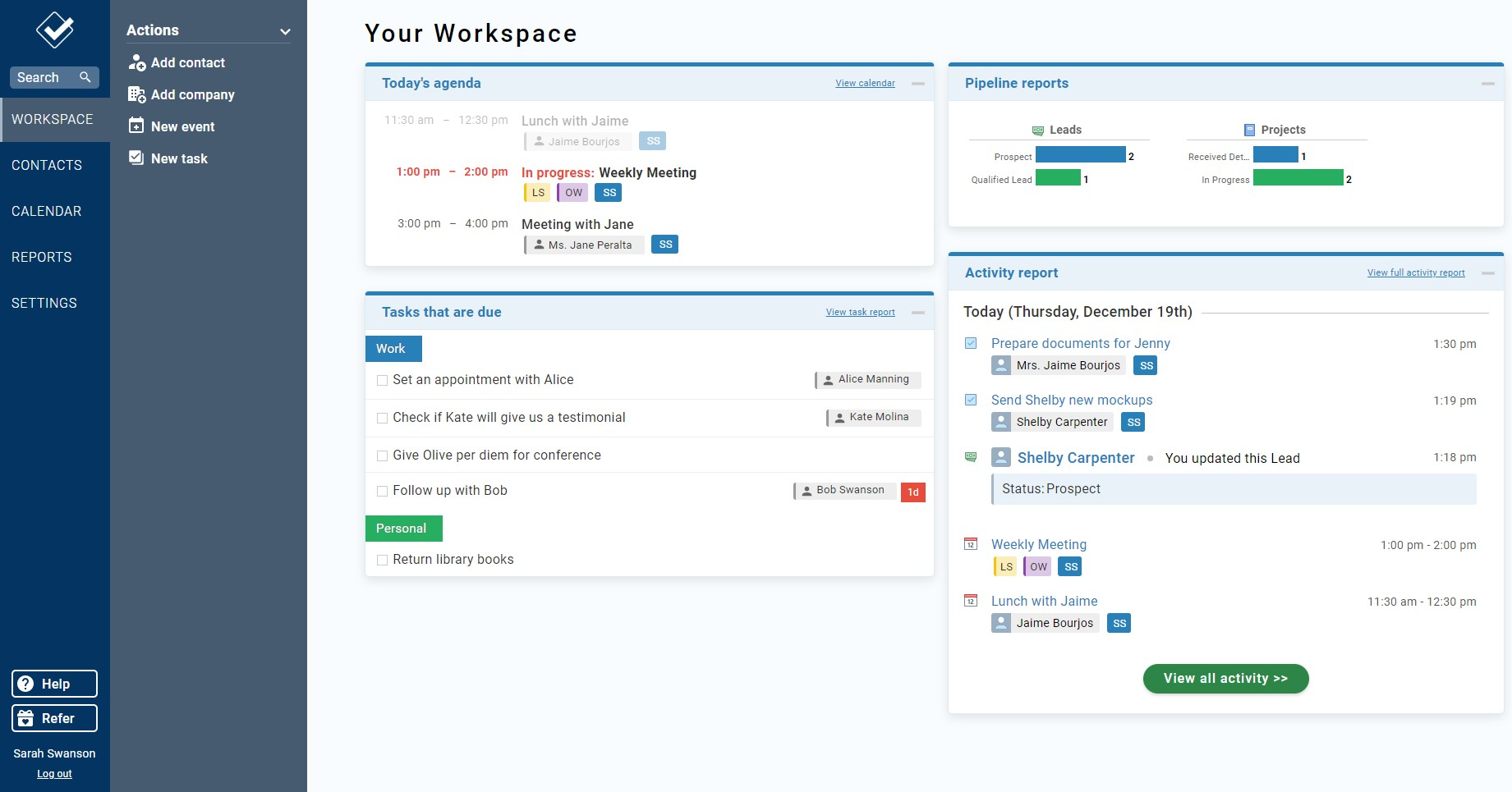 The main dashboard, called Workspace, in Less Annoying CRM