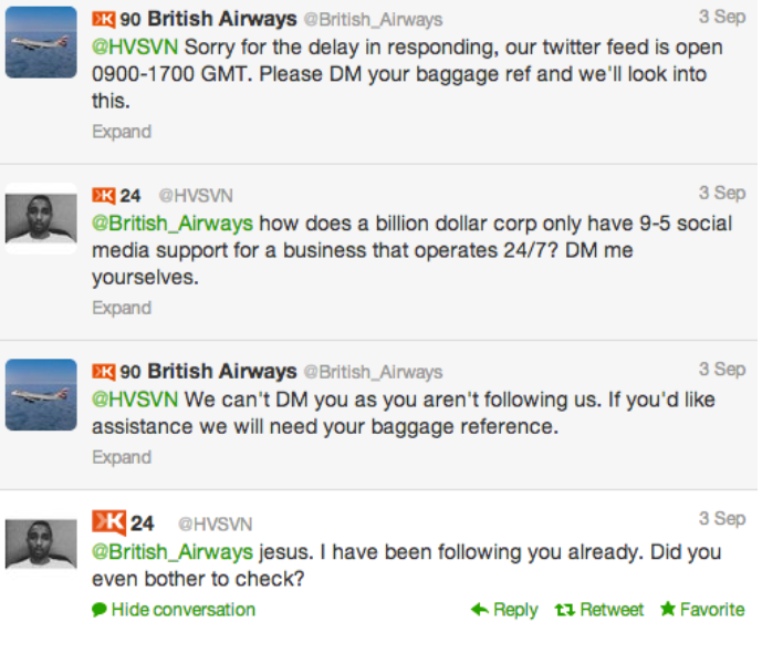 "British Airways' unhappy customer tweets, ""Don't fly @BritishAirways. Their customer service is horrendous."""