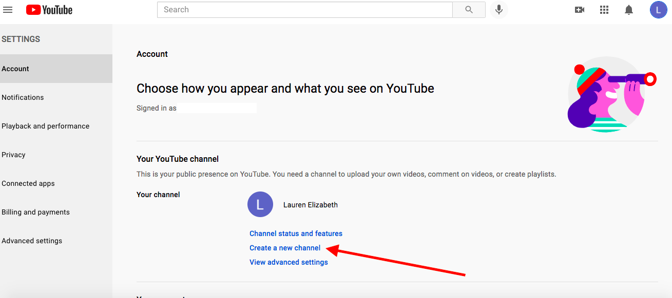 This screenshot shows you what to click to create your Brand Account.