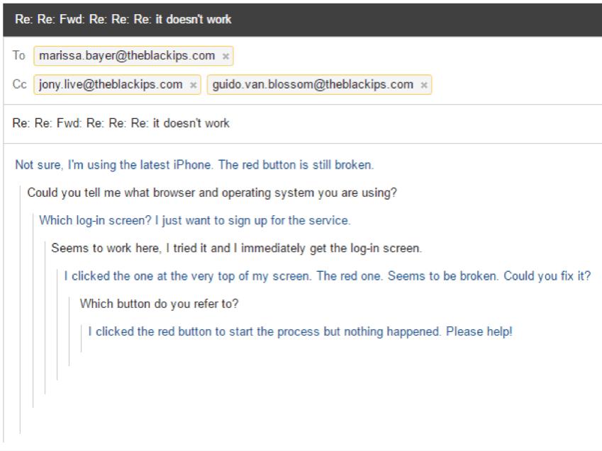 Customer service email screenshot